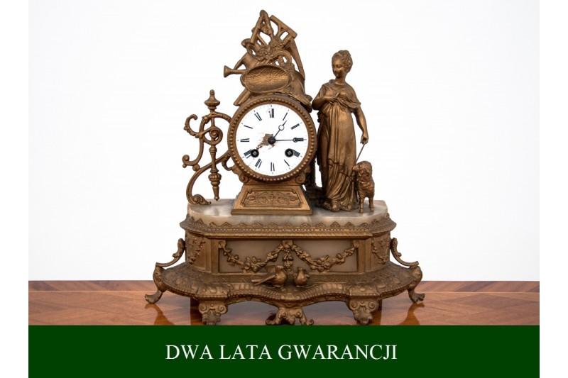 Zegar kominkowy z przełomu XIX i XX wieku. PO PRZEGLĄDZIE.