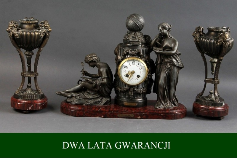 Zegar z świecznikami z końca XIX wieku