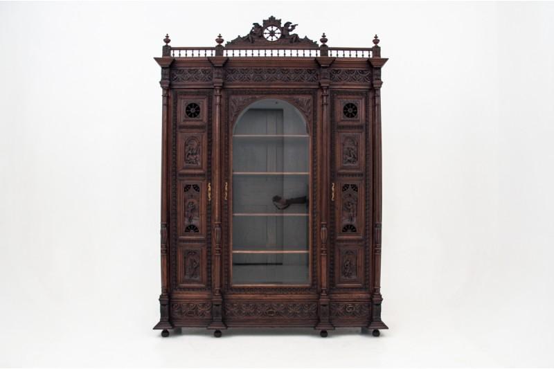 Antyczna Szafa Biblioteczna w stylu Bretońskim z ok. 1880 roku