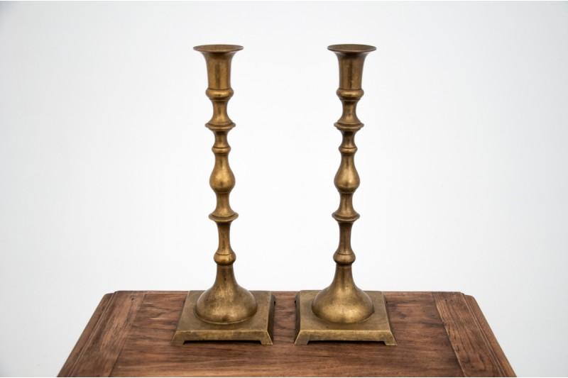 A set of brass candlesticks