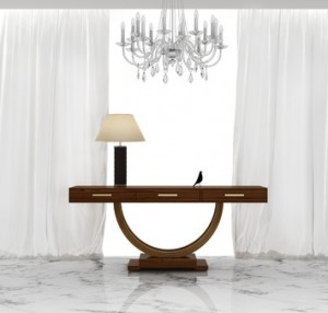 Elegant luxury art deco console table in a luxury interior